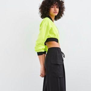 Zara lime green bomber jacket